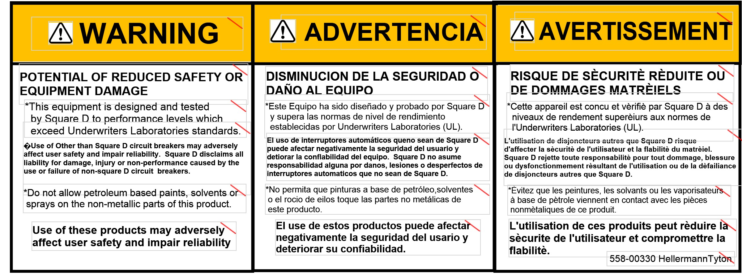MULTI LINGUAL WARNING LABEL 3 INCH TT4030